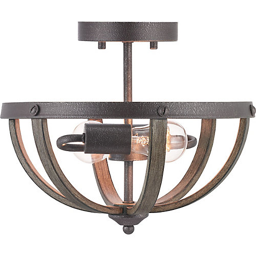 Keowee Collection 2-light Artisan Iron Semi-Flushmount with Distressed Elm Wood Accents