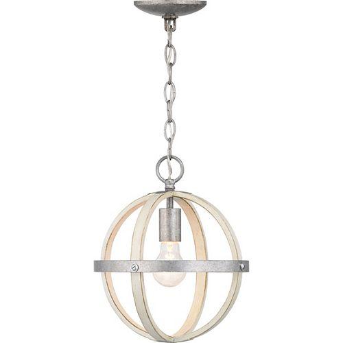 Mini-luminaire suspendu galvanisé à 1ampoule, touches de bois blanc antique, Collection Keowee