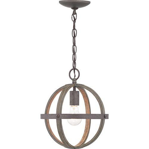 Mini-luminaire suspendu en fer de style artisanal à 1ampoule, touches de bois d'orme vieilli