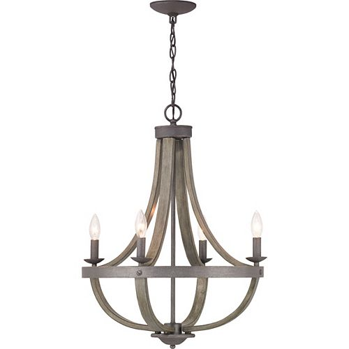 Keowee Collection 4-light Artisan Iron Chandelier with Distressed Elm Wood Accents