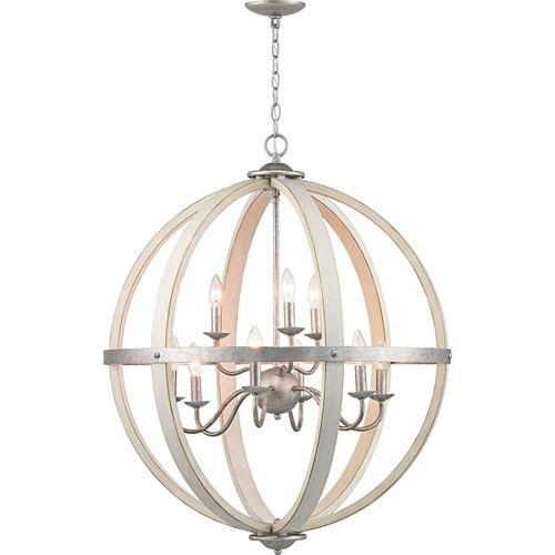 Lustre en forme de globe galvanisé à 9ampoules, touches de bois blanc antique, Collection Keowee