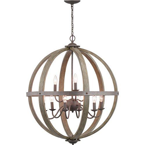 Lustre en forme de globe en fer de style artisanal à 9ampoules, touches de bois d'orme vieilli