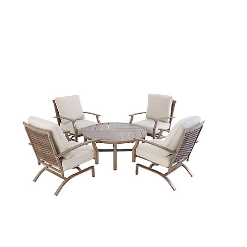 Geneva 5-Piece Swivel Woven Patio Conversation Deep Seating Set with Oatmeal Cushions