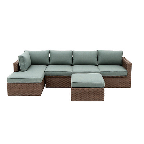 Hawthorn Estates 3-Piece Wicker Patio Sectional Set with Light Blue Cushions