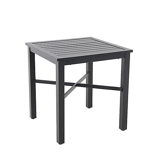 Mix and Match 26-inch Square Metal Patio Bistro Table in Black with Slat Top