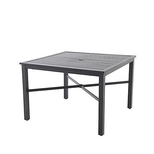 42-inch Mix and Match Black Square Metal Outdoor Patio Dining Table with Slat Top