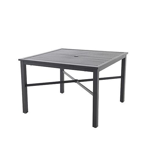 Table de jardin à plateau en lattes à agencer, 42 po, métal, noir