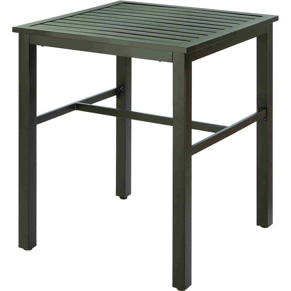 Hampton Bay Mix & Match Balcony Height Slat Patio Bistro Table in Black