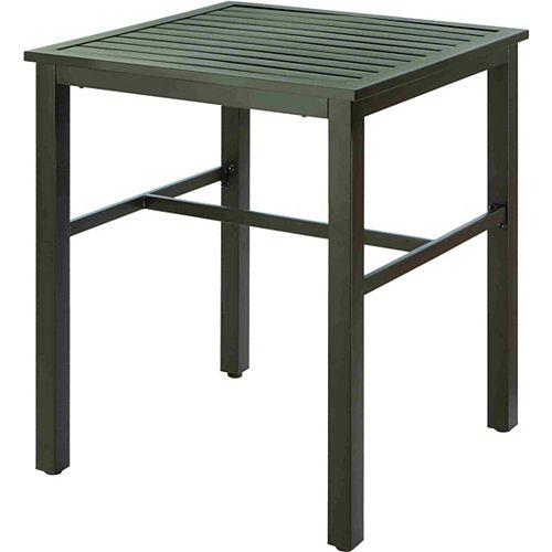 Table bistro de jardin avec plateau à lattes à hauteur de balcon à agencer, noir
