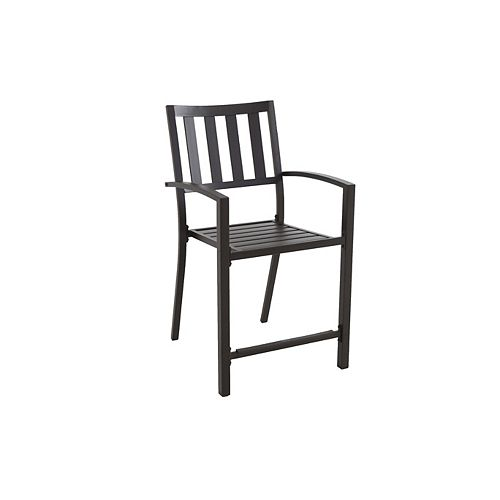 Mix & Match Stacking Slat Patio High Dining Chair in Black