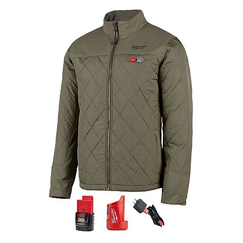 Milwaukee Tool Men's (M) M12 12V Li-Ion Cordless AXIS Olive Green Heated Quilted Jacket Kit w/2Ah Battery & Charger