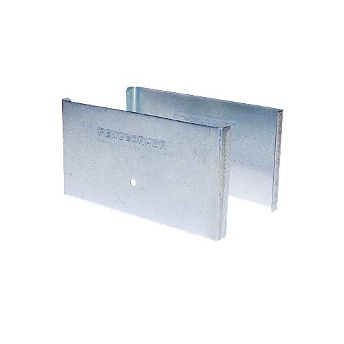 Fence Armor 5.5 inch. L x 3 inch. H x .5 inch. D GALV Steel Demi Fence Post Guard Protector for posts commonly  6x6's.