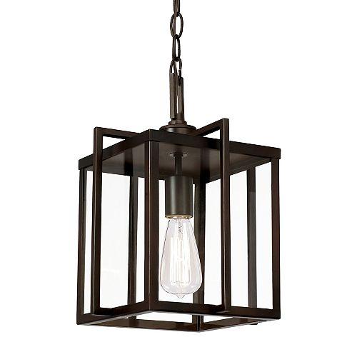 Bel Air Lighting 15 po H. 1-lumière lanterne en bronze huilé poncé pendante