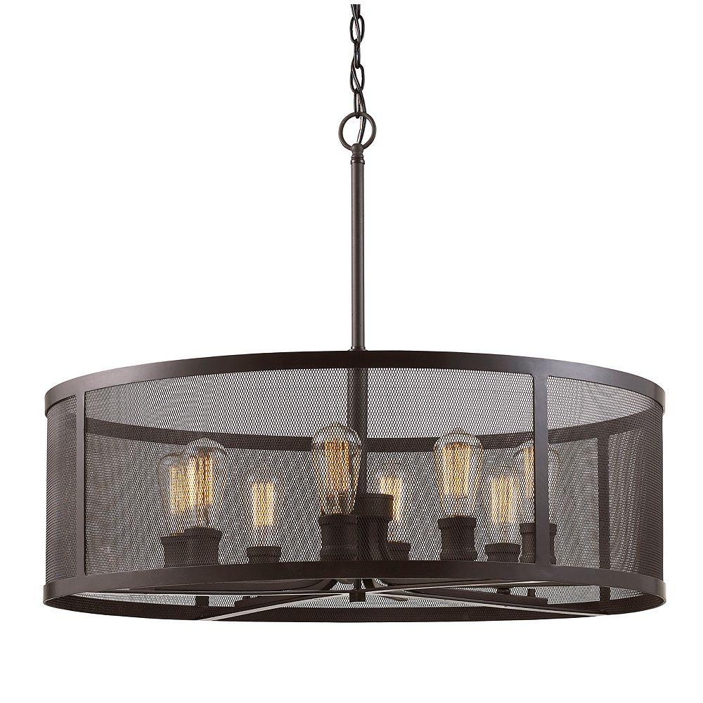 Bel Air Lighting 24.5 po H. 8 lumière lanterne en bronze huilé poncé pendante