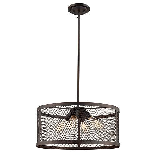 Bel Air Lighting 60 Watt, Mist 4-lumière lanterne en bronze huilé poncé pendante