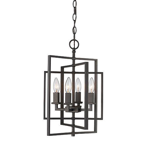 Bel Air Lighting 4 lumière lanterne, 60 Watt, E12 Base, en bronze huilé poncé pendante