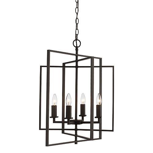 Bel Air Lighting Luminaire suspendu à 4 ampoules, 60 watt, bronze huilé poncé pendante