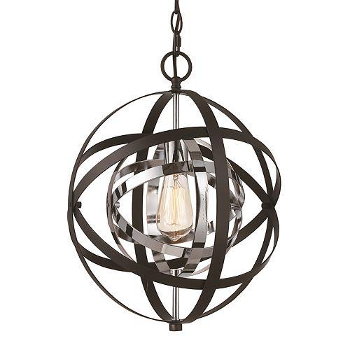 15 po H. Monrovia 1 lumière lanterne chrome poli et noir pendante