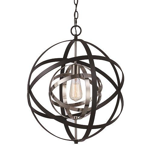 Bel Air Lighting 19 po H. 1-lumière lanterne bronze huilé poncé et argent antique pendante