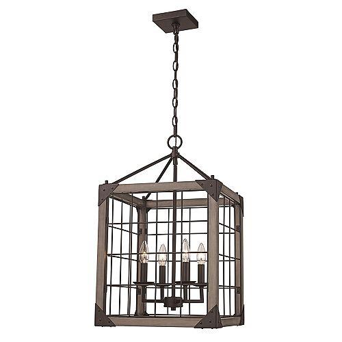 Bel Air Lighting 24.5 po H. 4 lumière lanterne bronze huilé poncé pendante