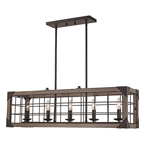 Bel Air Lighting 10 po H. 5 lumière lanterne bronze huilé poncé pendante
