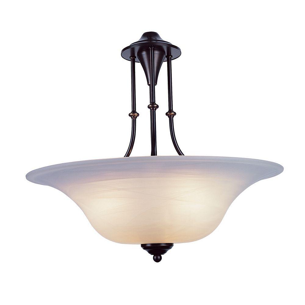 Bel Air Lighting 3 lumière lanterne en bronze vieilli pendante, Verre marbré