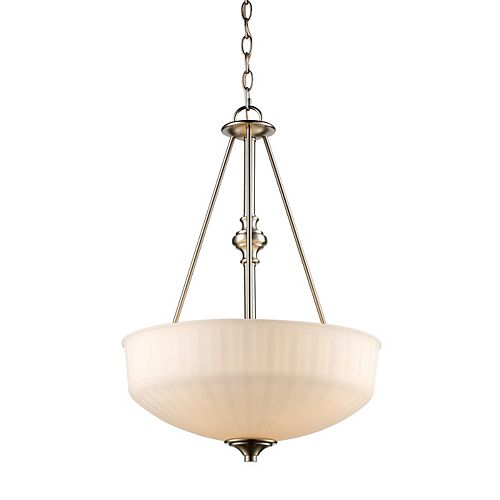 Bel Air Lighting Cahill 3 lumière lanterne nickel brossé pendante, Abat-jour large