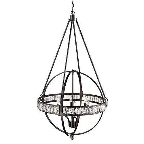 Bel Air Lighting Elan 6 lumière lanterne, Hauteur réglable, bronze huilé poncé pendante