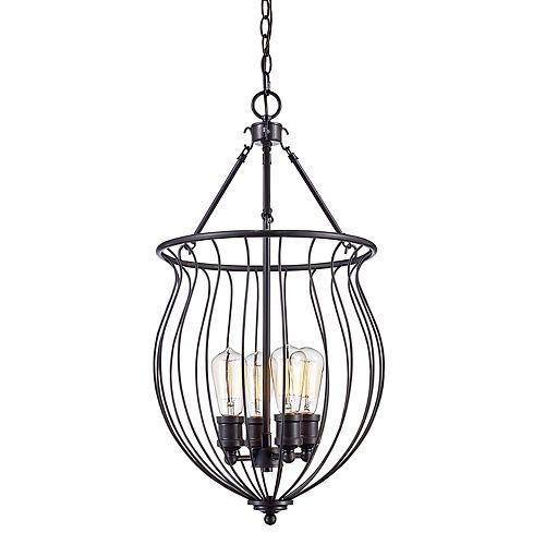 Bel Air Lighting 28 po H. 4 lumière lanterne bronze huilé poncé pendante