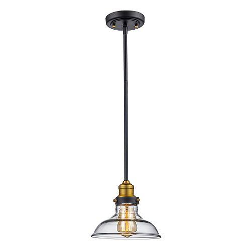 Jackson 1lumière lanterne bronze huilé poncé pendante, abat-jour en verre clair