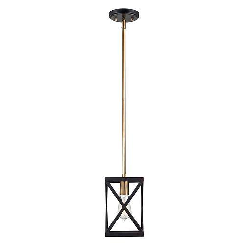 Bel Air Lighting 1-lumière lanterne bronze huilé poncé pendante etlaiton anitoque