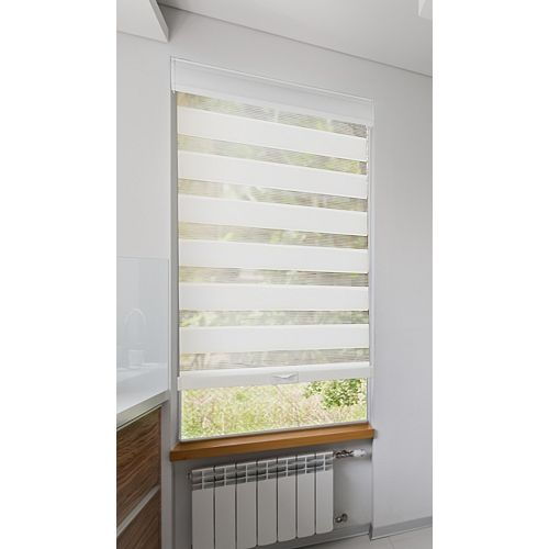 23 inch x 72 inch(WxL) Cordless Zebra Roller Blind, Privacy White Light Filtering with Valance