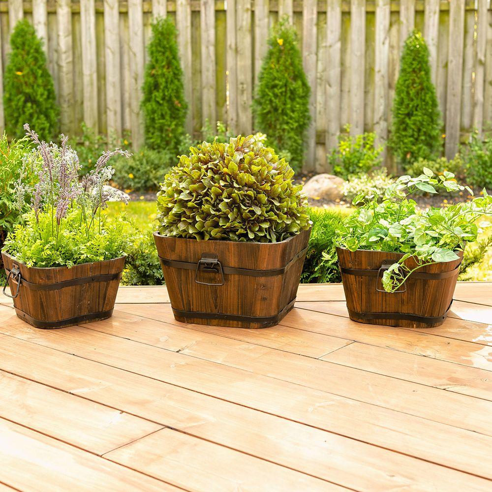 48L 20 inch Wooden garden planter square flower box 500 x 500