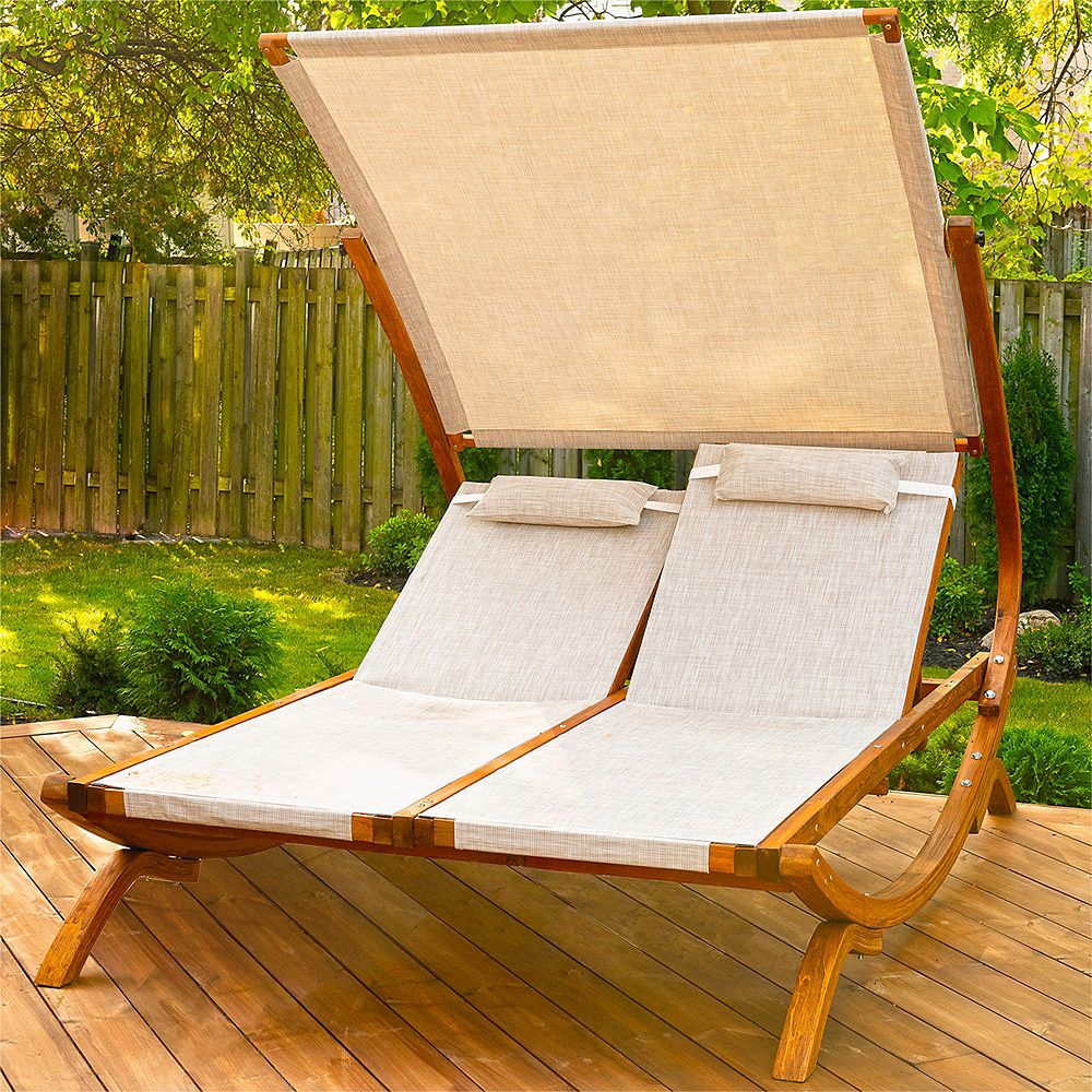 Leisure Season Double Reclining Lounge Chair with Canopy