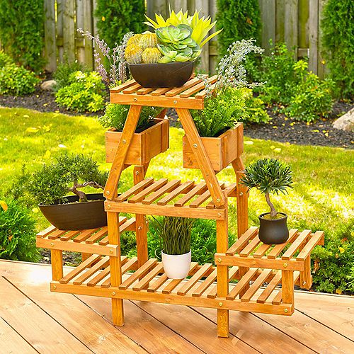 Leisure Season 4-Tier Plant Stand With Pot Holders
