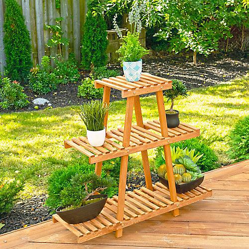 Support à plantes en bois pour extérieur à 3 niveaux