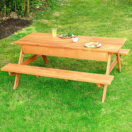 Table de pique-nique avec compartiment de rangement