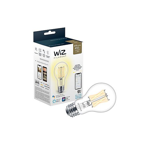 WiZ 40W A19 Clear Wifi Dimmable LED Light Bulb
