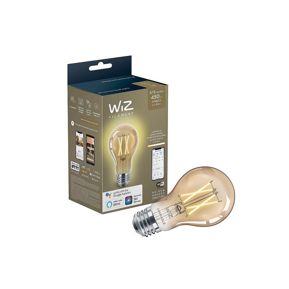 Philips Ampoule intelligente rétro A19 à DEL décorative Wi-Fi WiZ à intensité variable, 40 W