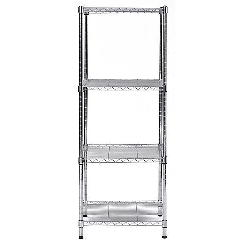 47 inch H x 18 inch W x 18 inch D 4-Shelves Steel Wire Shelving Unit Chrome