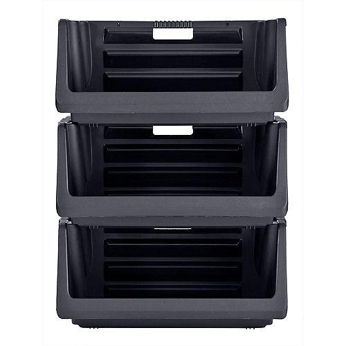 Stackable Storage Bin in Black (3-Pack)