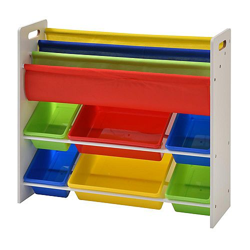 33.8 inch x 10.4 inch Book and Toy Storage Organizer with 6-Plastic Bins