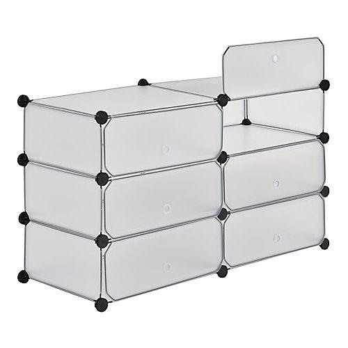 Organisateur de 6 cubes transparent, 37,4 po x 22,4 po