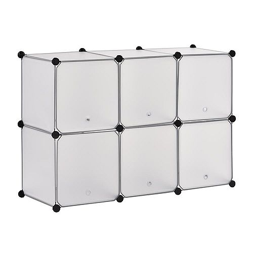 43.7 inch W x 30 inch H Clear 6-Cube Organizer