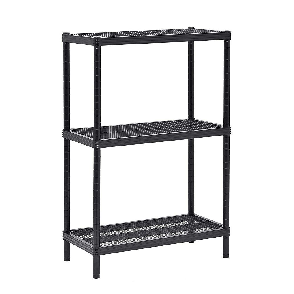 Muscle Carts 24 inch W x 36 inch H x 12 inch D 3-Tier Mesh Shelving Unit in Black