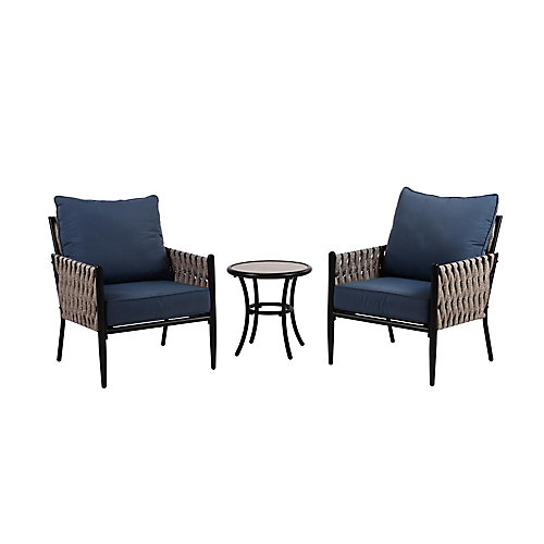 Dockview 3-Piece Metal Patio Bistro Set with Blue Cushions