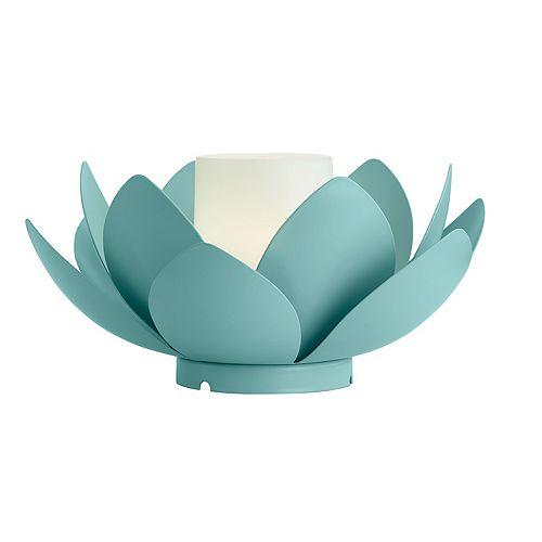 Lanterne nénuphar avec bougie sans flamme à couleurs changeantes, 4,6 po, métal, turquoise pastel