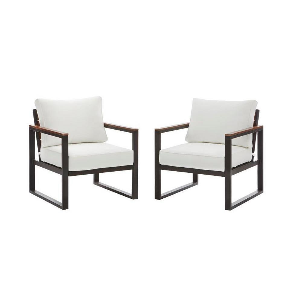Coussin Pour Fauteuil Adirondack chaise longue de jardin avec coussins blancs west park, aluminium, noir,  ens. de 2