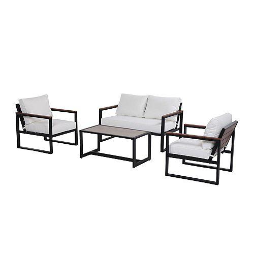 West Park 4-Piece Aluminum Patio Conversation Set in Black with White CushionGuard Cushions