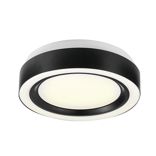 13-inch Black Integrated LED Ring Flushmount Light Fixture
